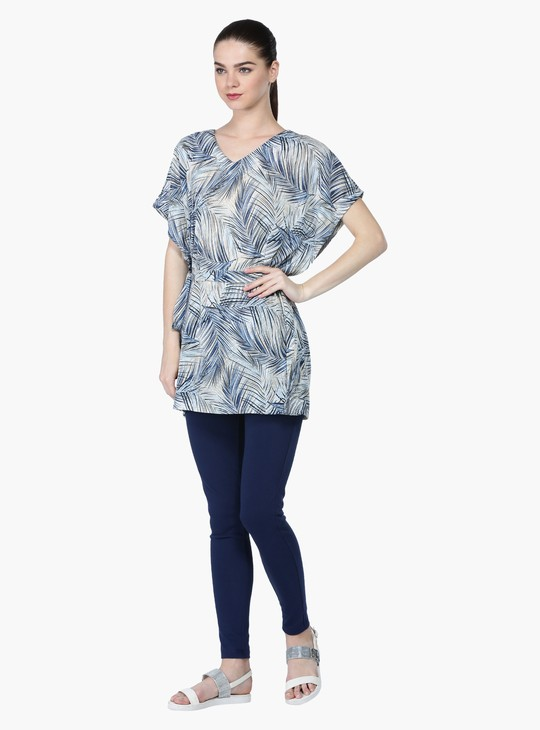 Printed Kaftan with V-Neckline and Short Sleeves
