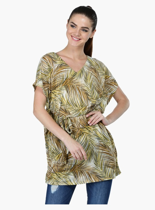 Printed V-Neck Tunic with Tie-ups