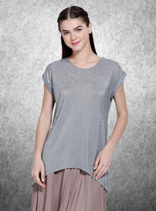 Printed Round Neck Ribbed Top with Short Sleeves
