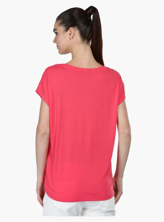 Round Neck T-Shirt with Pompom Detailing