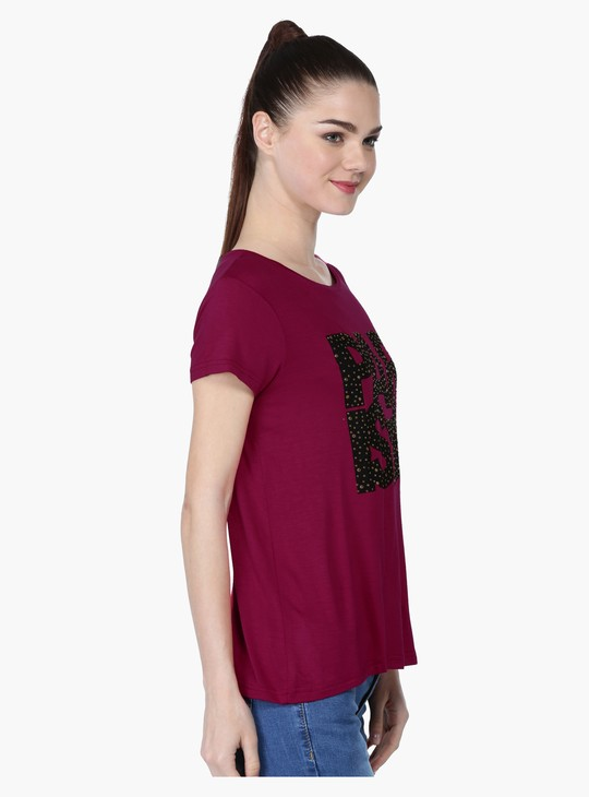 Printed Short Sleeves T-Shirt with Studs