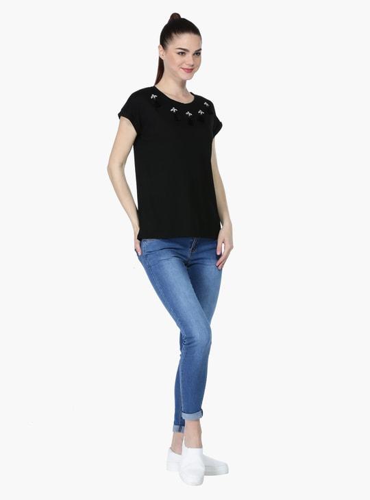 Stud Embellished Short Sleeves T-Shirt with Tassels