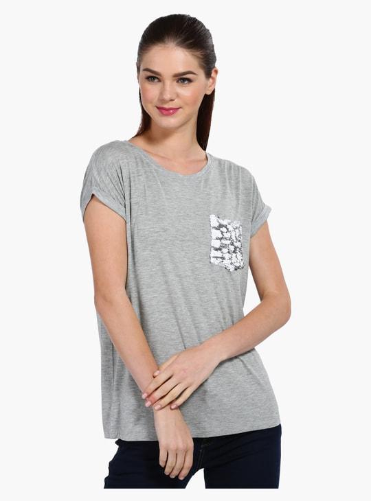 Melange Short Sleeves T-Shirt with Embellished Pocket