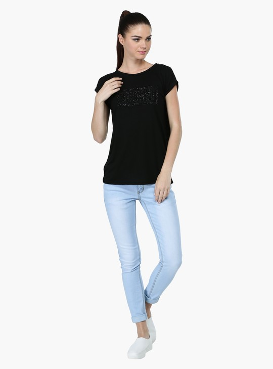 Sequin Round Neck T-Shirt with Short Sleeves
