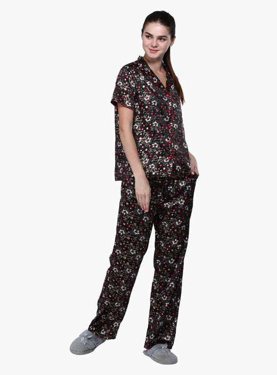 Printed Shirt and Pyjama Set