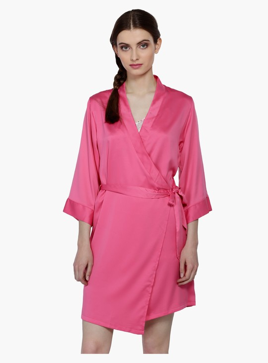 3/4 Sleeves Sleep Robe with Tie-Up