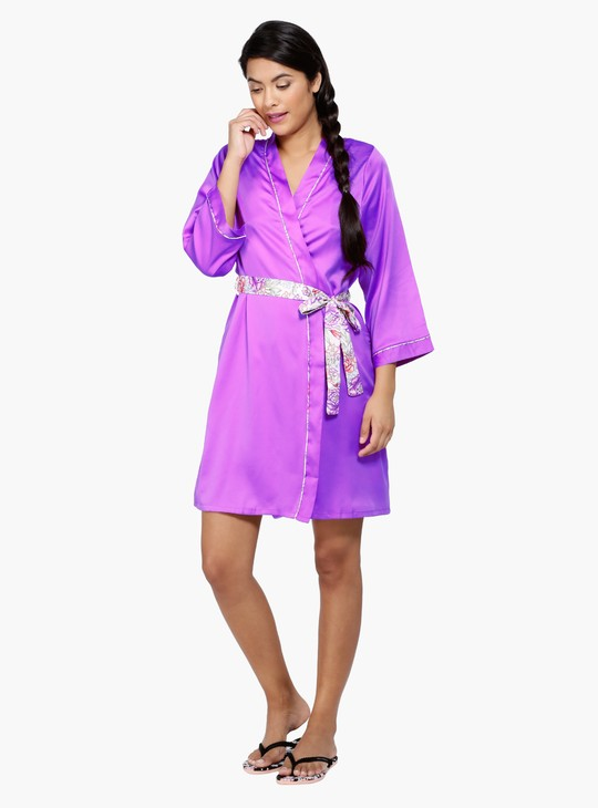 Sleep Robe with Printed Tie Up