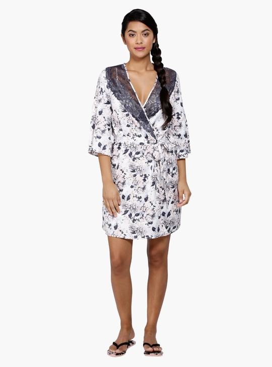 Floral Print Lace Robe with Tie-Up