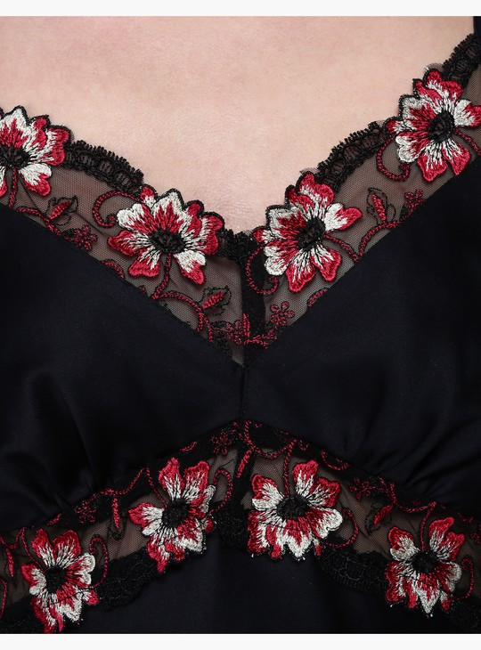 Embroidered Chemise with Adjustable Spaghetti Straps