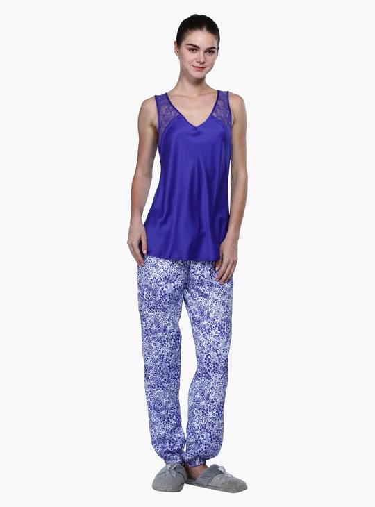 2-Piece Lace Top and Printed Pyjamas Set
