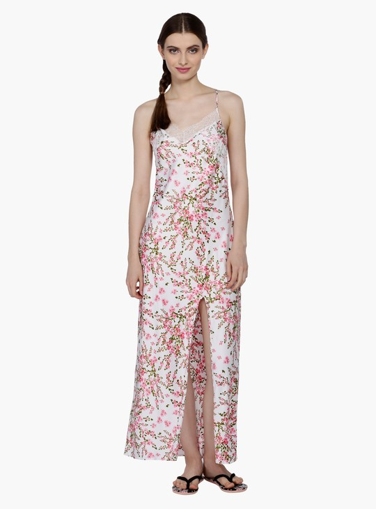 Printed Sleep Gown with Slit