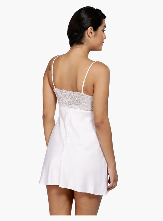 Lace Sleeveless Night Dress with V-Neck
