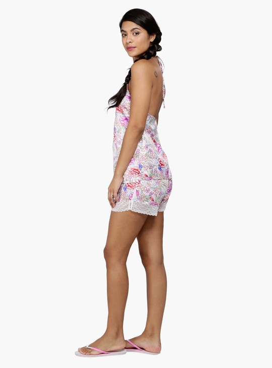 Floral Print Halter Neck Top and Shorts Set