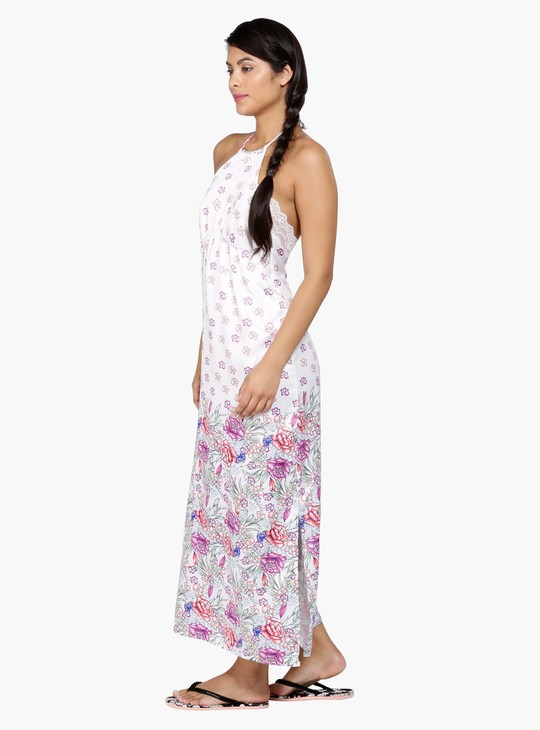 Floral Print Halter Neck Night Dress with Open Back