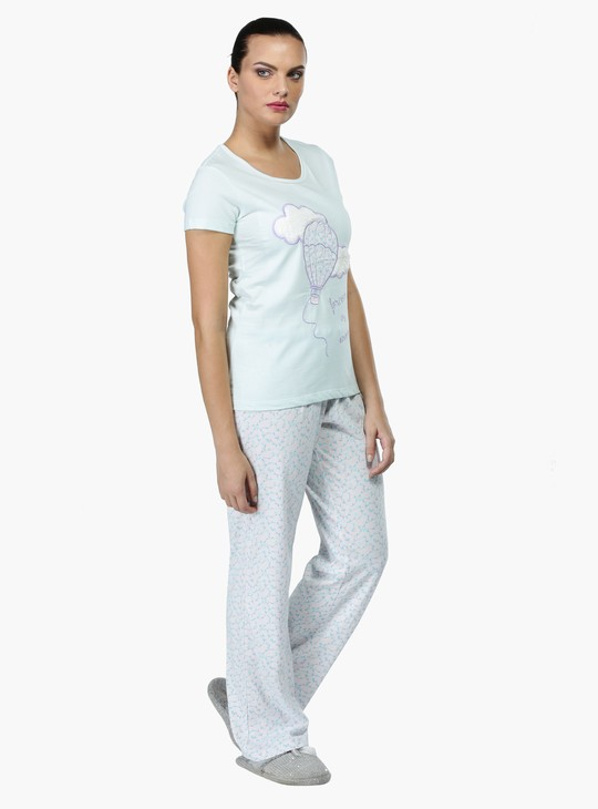 Printed Pyjama Set with Applique Detailing