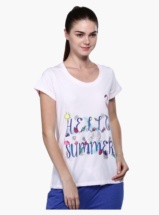 Printed Short Sleeves T-Shirt and Pyjama Set