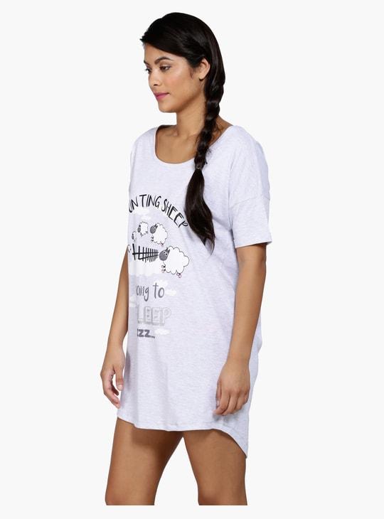 Printed High Low Hem Sleep Shirt with Short Sleeves