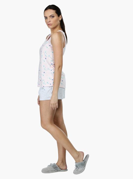 Printed Sleeveless T-Shirt and Shorts Set