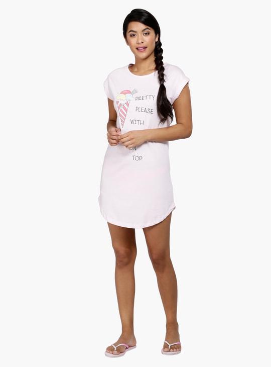 Printed Sleep Shirt with Cap Sleeves