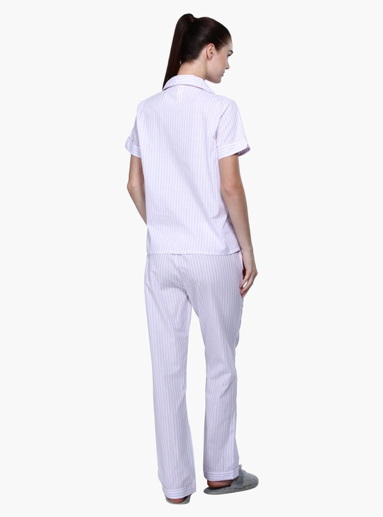 Striped Short Sleeves Pyjama Set