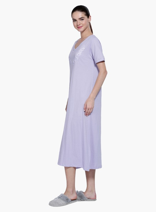 Embroidered Short Sleeves Gown with V-neck