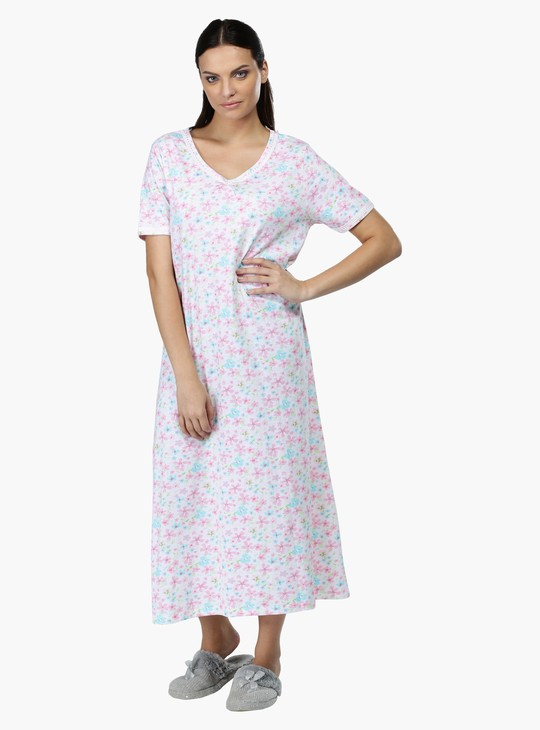 Printed Sleep Gown with V-Neck and Short Sleeves