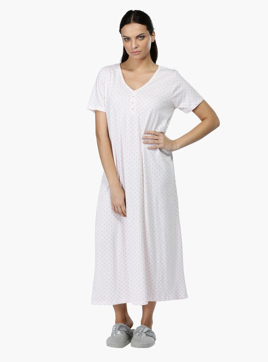 Printed V-Neck Sleep Gown with Short Sleeves