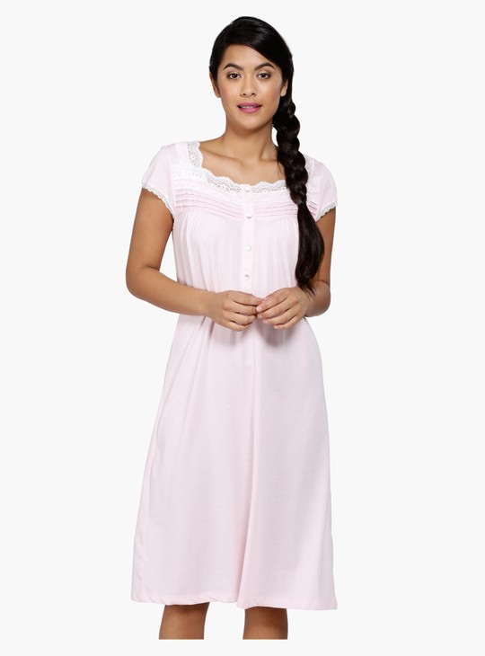 Lace Sleep Dress with Short Sleeves and Square Neck