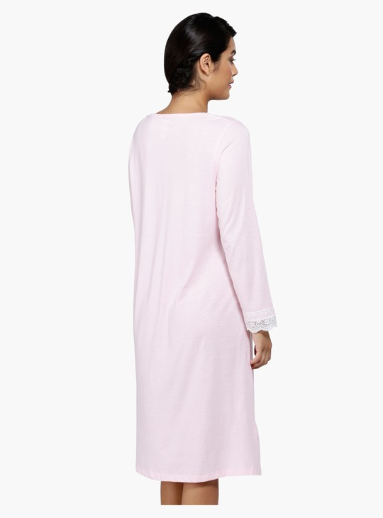Lace Sleep Dress with Long Sleeves and Square Neck