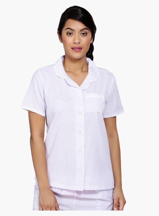 Striped Sleep Shirt and Pyjama Set