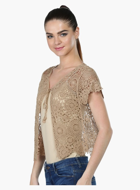 Lace Crop Shrug with Short Sleeves