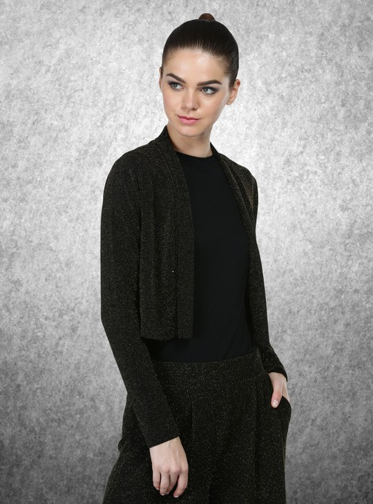 Long Sleeves Textured Shrug with Open Front