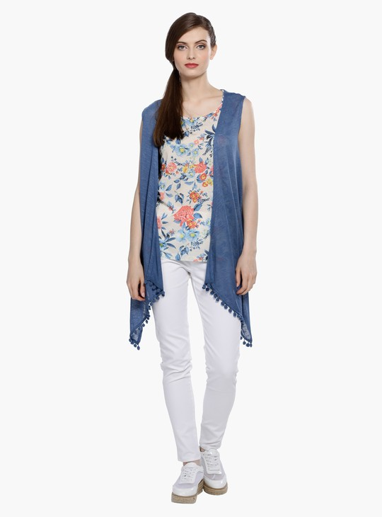 Sleeveless Open Front Shrug with Pom Poms
