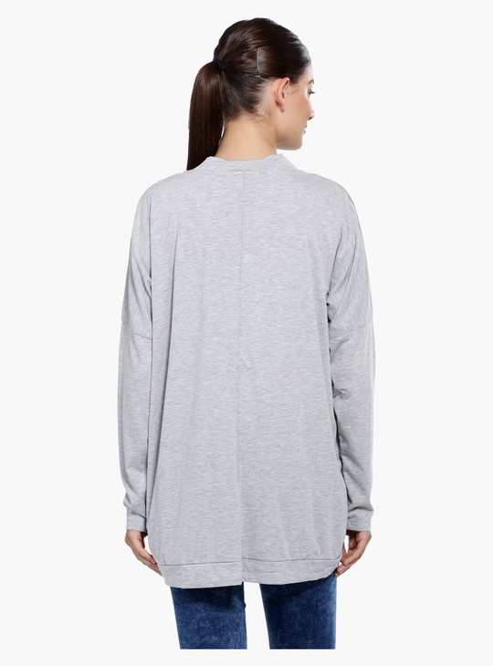 Long Sleeves Shrug with Curved Hem