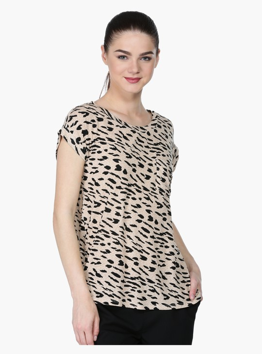 Animal Print T-Shirt with Short Sleeves and Round Neck