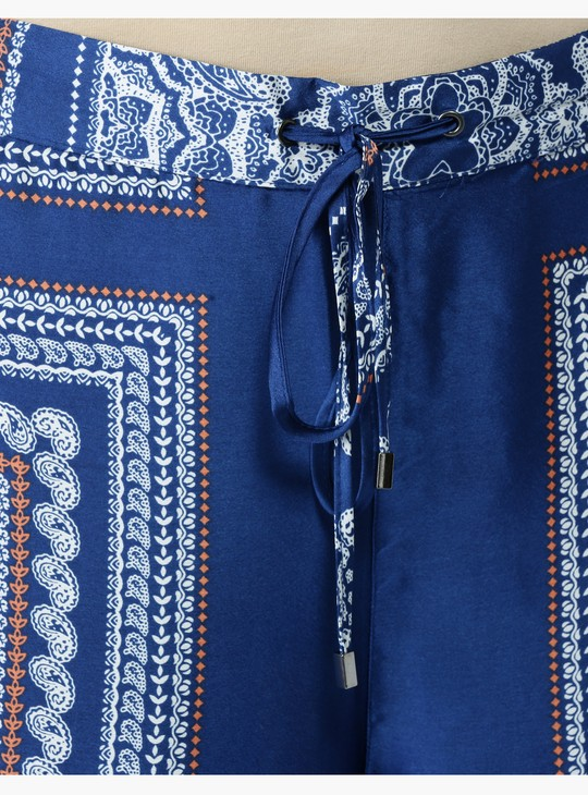 Printed Mid Rise Palazzos with Tie-Ups at Waist