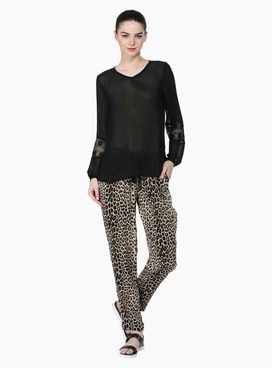 Leopard Print Mid-Rise Harem Pants