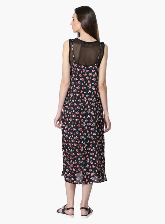 Printed Sleeveless Dress with Round Neckline