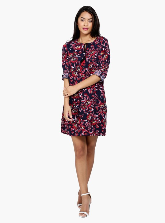 Printed 3/4 Sleeves Tunic Dress