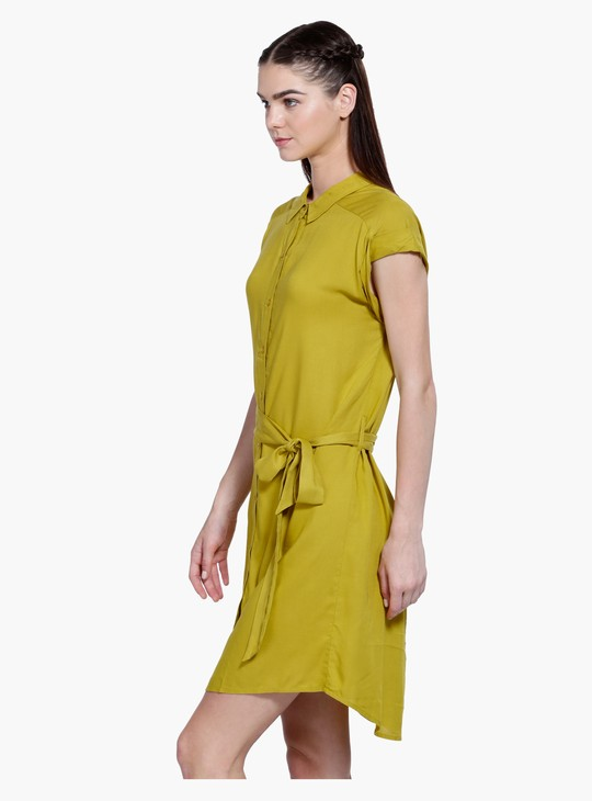 Collared Short Sleeves Dress
