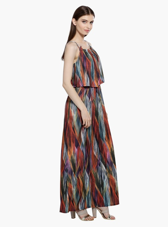 Printed Layered Maxi Dress with Spaghetti Straps