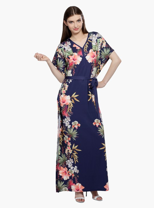 Printed Maxi Dress with V-Neck