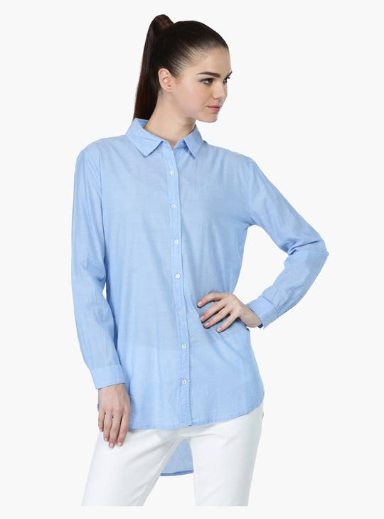 Oversized Shirt with High-Low Hem