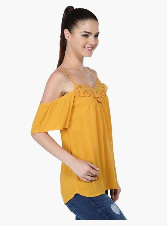 Cold-Shoulder Top with Fringed Yoke
