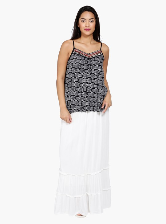 Printed Sleeveless Top with Embellished Neck and Spaghetti Straps