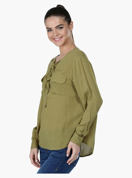 Textured Long Sleeves Top with Patch Pockets