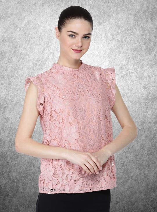 Sleeveless Lace Top with Round Neck