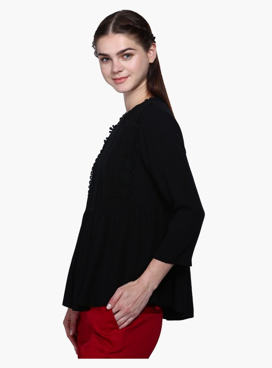 Round Neck Lace Trimmed Top
