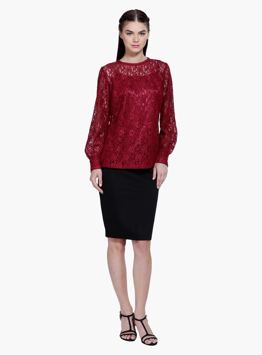 Long Sleeves Lace Top with Round Neck
