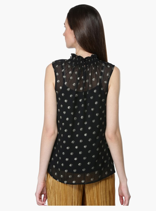 Printed Sleeveless Top with Turtle Neck